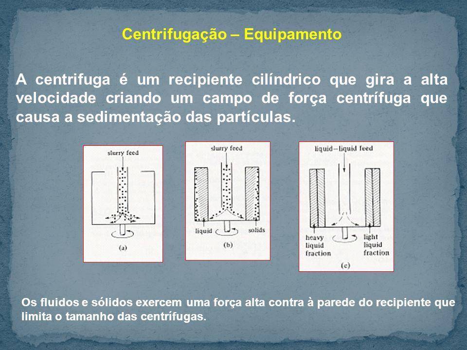 Centrifugação – Equipamento A centrifuga é um recipiente cilíndrico que gira a alta velocidade criando um campo de força centrífuga que causa a sedimentação das partículas.