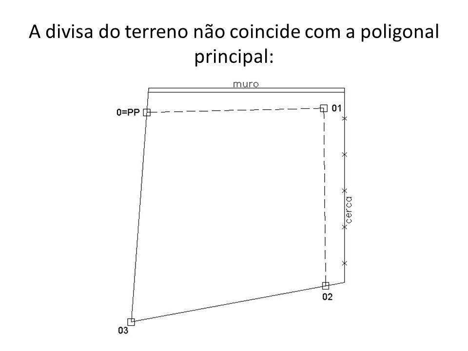 A divisa do terreno não coincide com a poligonal principal: