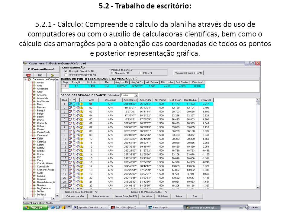 5.2 - Trabalho de escritório: 5.2.1 - Cálculo: Compreende o cálculo da planilha através do uso de computadores ou com o auxílio de calculadoras cientí