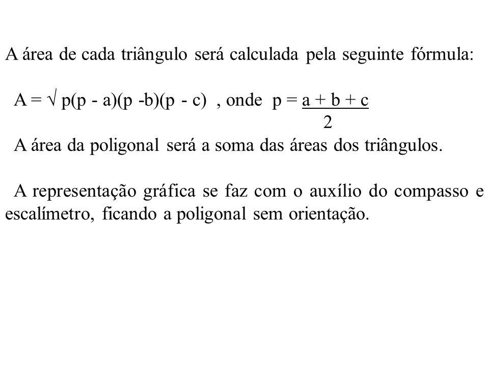 A área de cada triângulo será calculada pela seguinte fórmula: A = p(p - a)(p -b)(p - c), onde p = a + b + c 2 A área da poligonal será a soma das áre