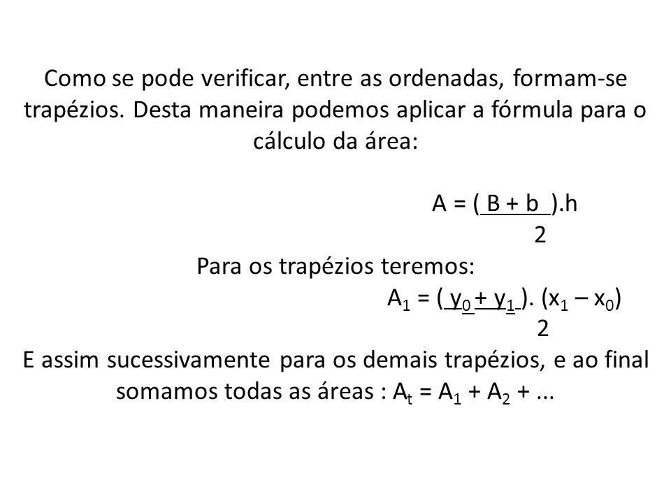 Como se pode verificar, entre as ordenadas, formam-se trapézios. Desta maneira podemos aplicar a fórmula para o cálculo da área: A = ( B + b ).h 2 Par