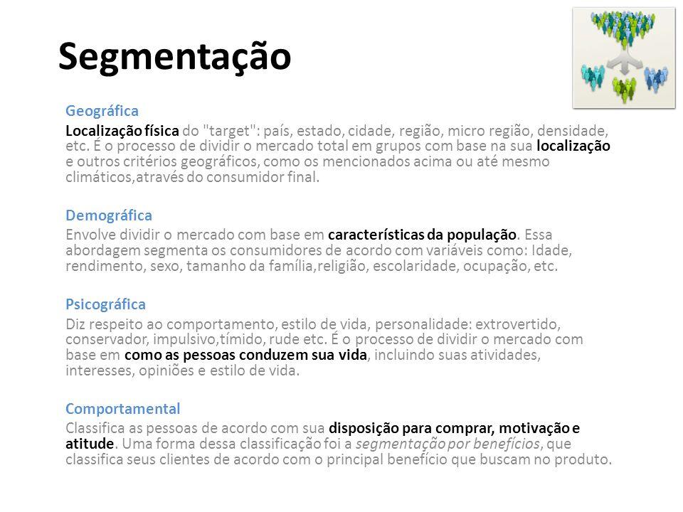 Segmentação Geográfica Localização física do target : país, estado, cidade, região, micro região, densidade, etc.
