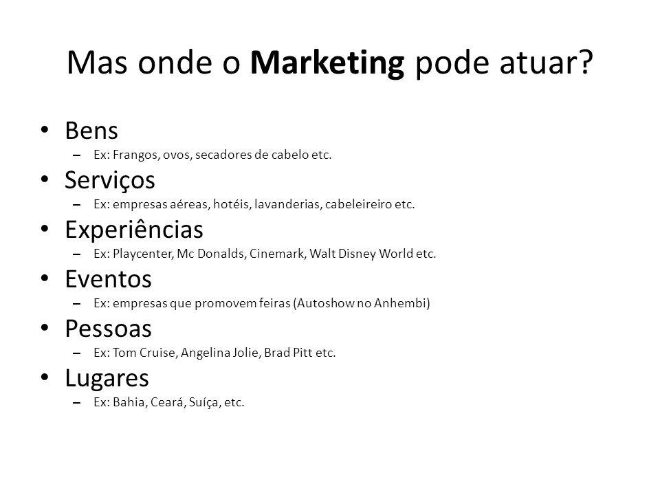 Mas onde o Marketing pode atuar? Bens – Ex: Frangos, ovos, secadores de cabelo etc. Serviços – Ex: empresas aéreas, hotéis, lavanderias, cabeleireiro