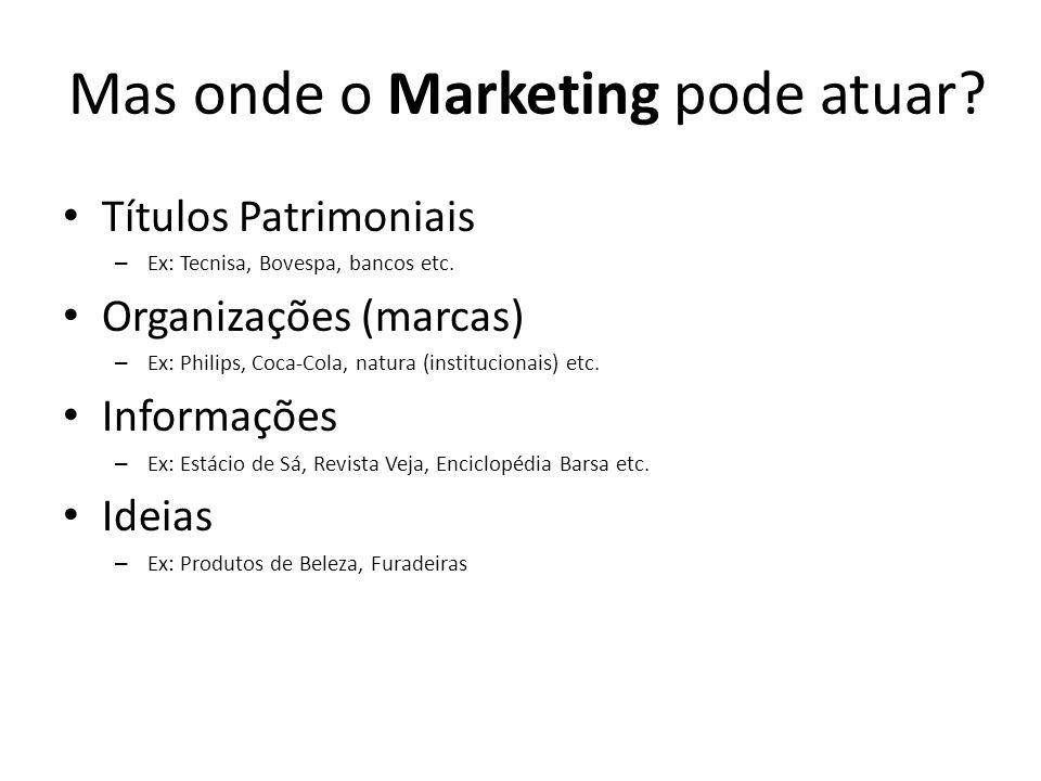 Títulos Patrimoniais – Ex: Tecnisa, Bovespa, bancos etc. Organizações (marcas) – Ex: Philips, Coca-Cola, natura (institucionais) etc. Informações – Ex