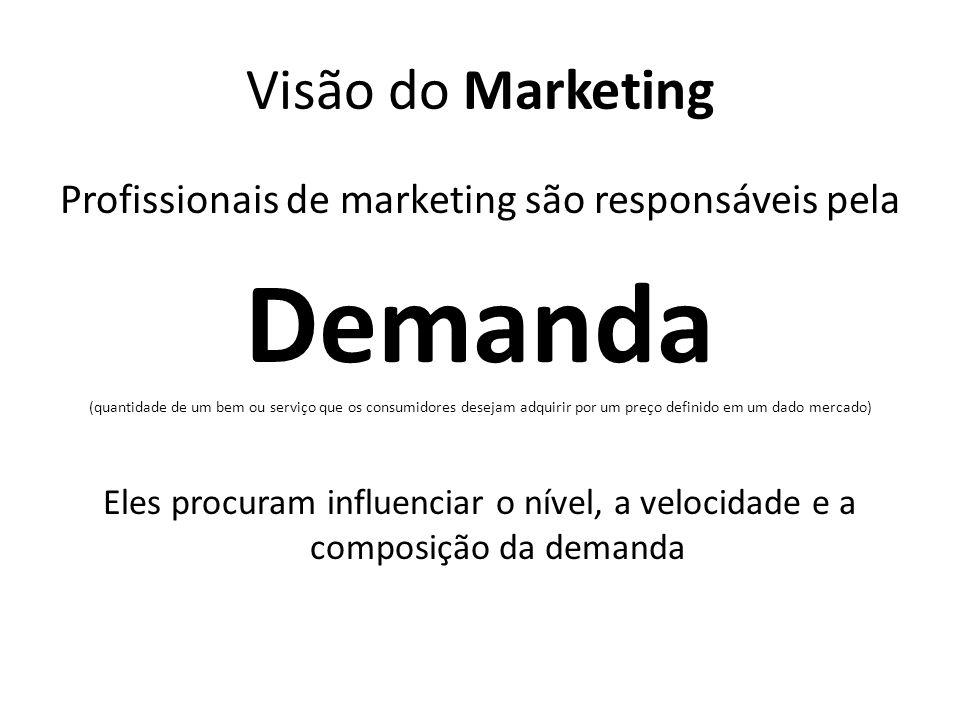 Visão do Marketing Profissionais de marketing são responsáveis pela Demanda (quantidade de um bem ou serviço que os consumidores desejam adquirir por um preço definido em um dado mercado) Eles procuram influenciar o nível, a velocidade e a composição da demanda