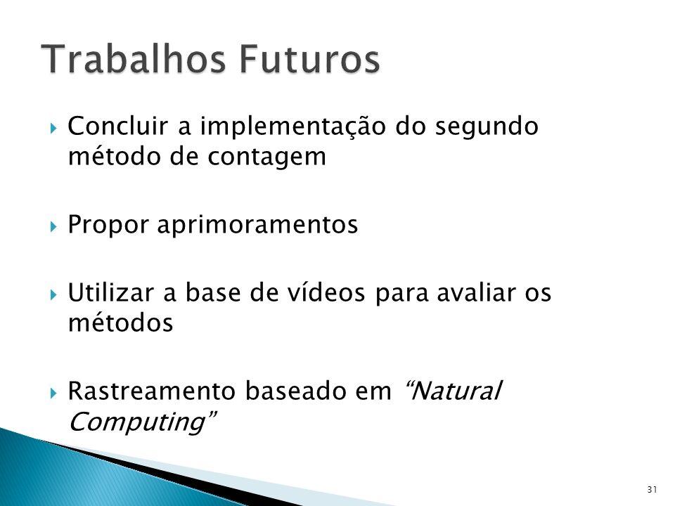 Concluir a implementação do segundo método de contagem Propor aprimoramentos Utilizar a base de vídeos para avaliar os métodos Rastreamento baseado em Natural Computing 31