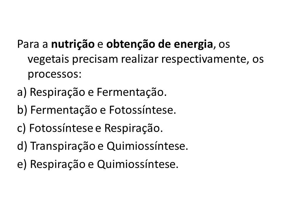 Para a nutrição e obtenção de energia, os vegetais precisam realizar respectivamente, os processos: a) Respiração e Fermentação. b) Fermentação e Foto