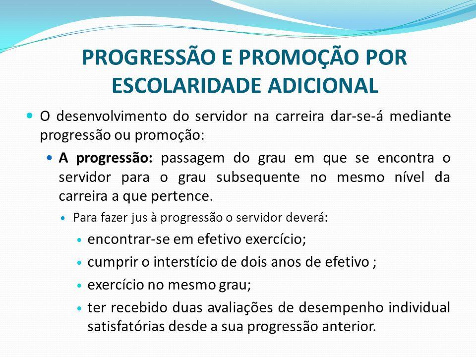 PROGRESSÃO E PROMOÇÃO POR ESCOLARIDADE ADICIONAL O desenvolvimento do servidor na carreira dar-se-á mediante progressão ou promoção: A progressão: pas