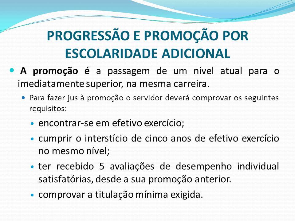 PROGRESSÃO E PROMOÇÃO POR ESCOLARIDADE ADICIONAL A promoção é a passagem de um nível atual para o imediatamente superior, na mesma carreira. Para faze