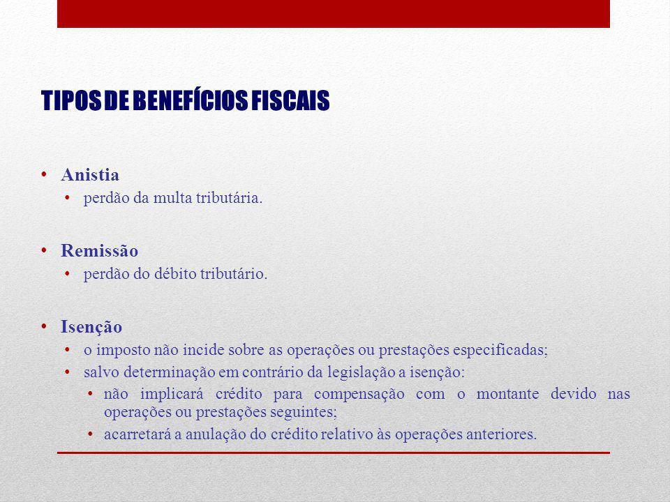 TIPOS DE BENEFÍCIOS FISCAIS Anistia perdão da multa tributária. Remissão perdão do débito tributário. Isenção o imposto não incide sobre as operações