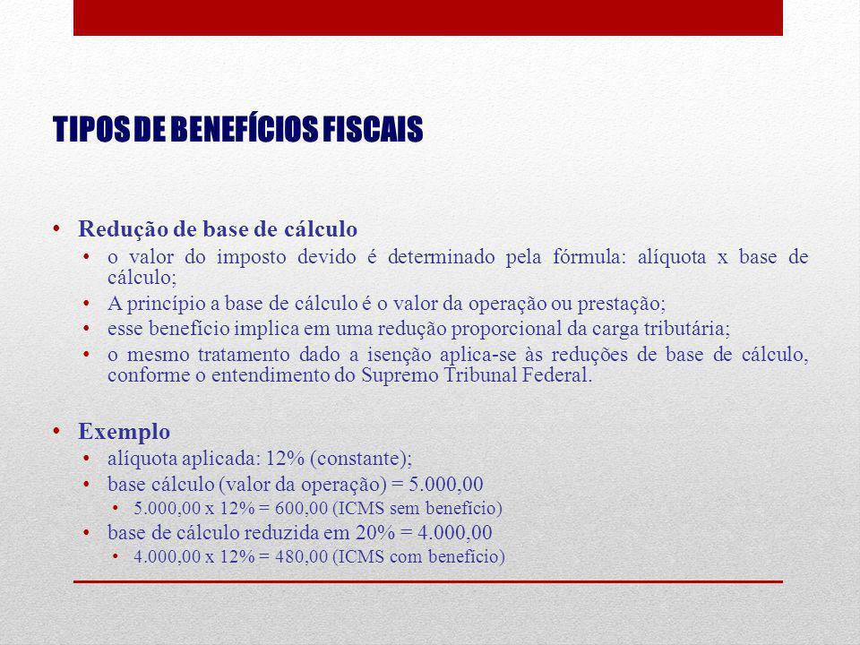 TIPOS DE BENEFÍCIOS FISCAIS Redução de base de cálculo o valor do imposto devido é determinado pela fórmula: alíquota x base de cálculo; A princípio a