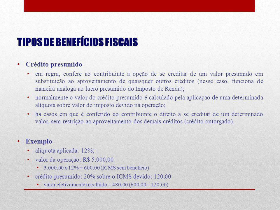 TIPOS DE BENEFÍCIOS FISCAIS Crédito presumido em regra, confere ao contribuinte a opção de se creditar de um valor presumido em substituição ao aprove