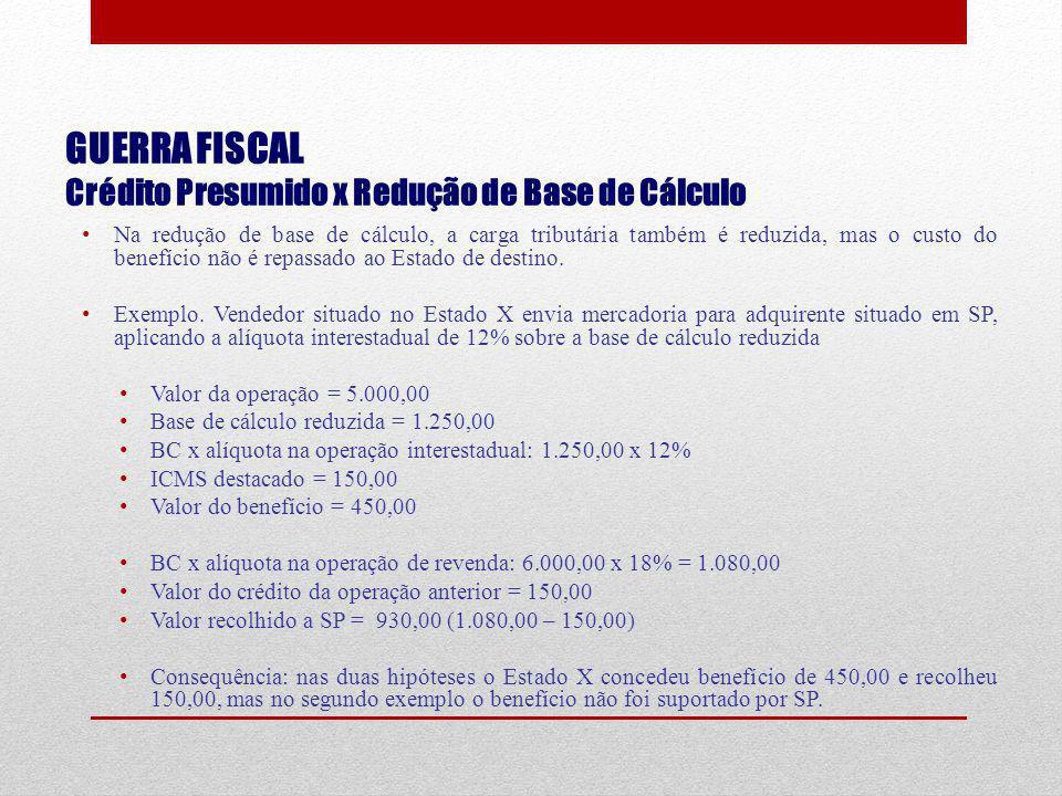 GUERRA FISCAL Crédito Presumido x Redução de Base de Cálculo Na redução de base de cálculo, a carga tributária também é reduzida, mas o custo do benef