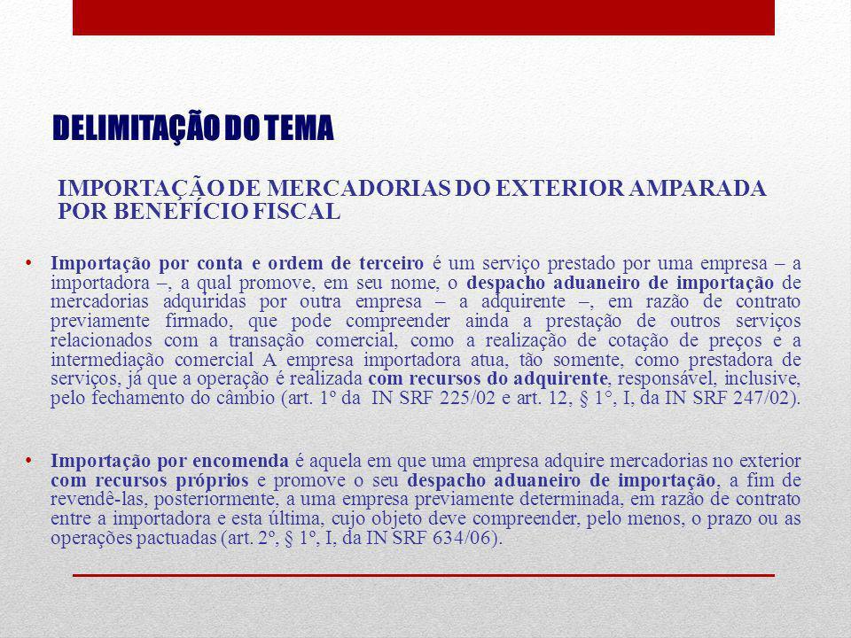 DELIMITAÇÃO DO TEMA IMPORTAÇÃO DE MERCADORIAS DO EXTERIOR AMPARADA POR BENEFÍCIO FISCAL Importação por conta e ordem de terceiro é um serviço prestado