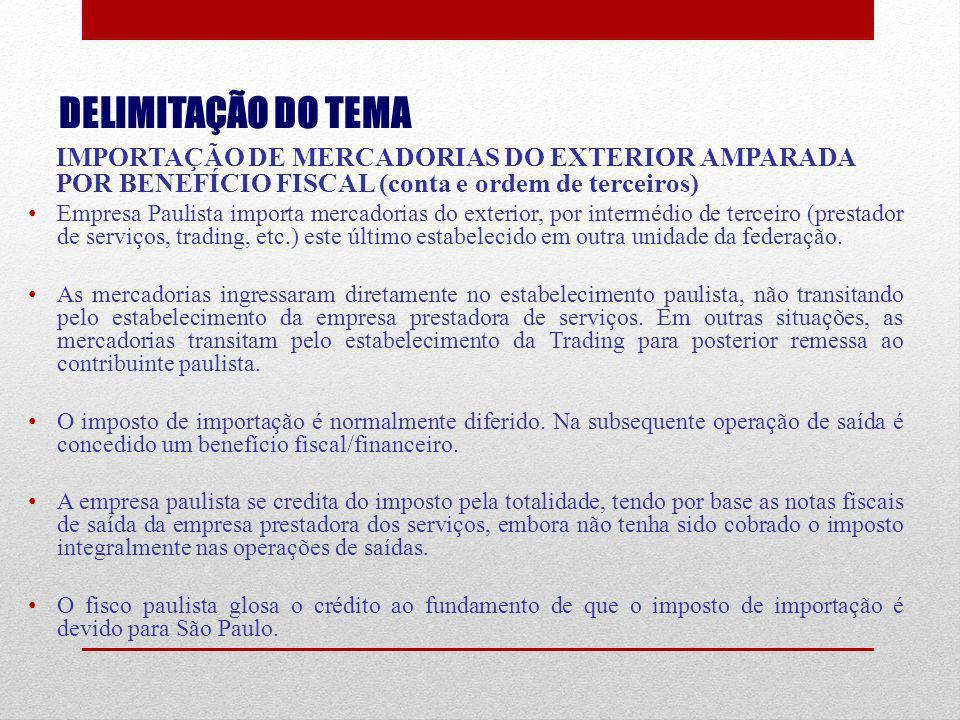 DELIMITAÇÃO DO TEMA IMPORTAÇÃO DE MERCADORIAS DO EXTERIOR AMPARADA POR BENEFÍCIO FISCAL (conta e ordem de terceiros) Empresa Paulista importa mercador