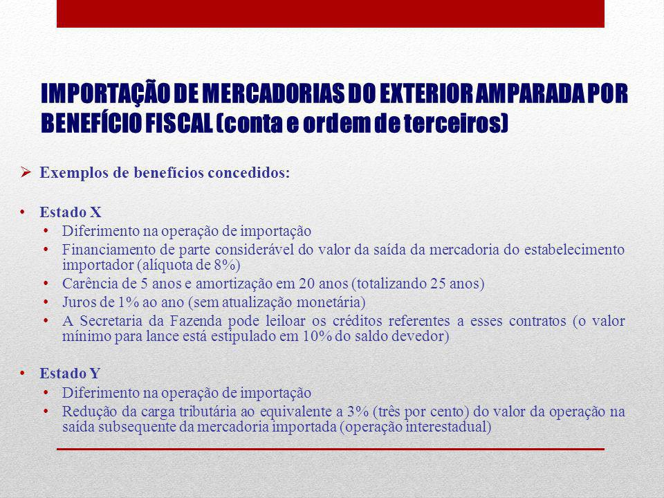 IMPORTAÇÃO DE MERCADORIAS DO EXTERIOR AMPARADA POR BENEFÍCIO FISCAL (conta e ordem de terceiros) Exemplos de benefícios concedidos: Estado X Diferimen
