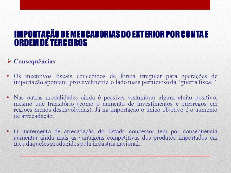 IMPORTAÇÃO DE MERCADORIAS DO EXTERIOR POR CONTA E ORDEM DE TERCEIROS Consequências Os incentivos fiscais concedidos de forma irregular para operações