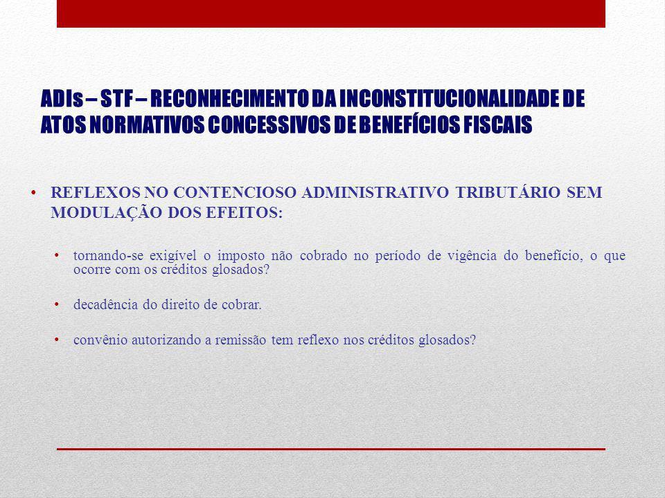 ADIs – STF – RECONHECIMENTO DA INCONSTITUCIONALIDADE DE ATOS NORMATIVOS CONCESSIVOS DE BENEFÍCIOS FISCAIS REFLEXOS NO CONTENCIOSO ADMINISTRATIVO TRIBU