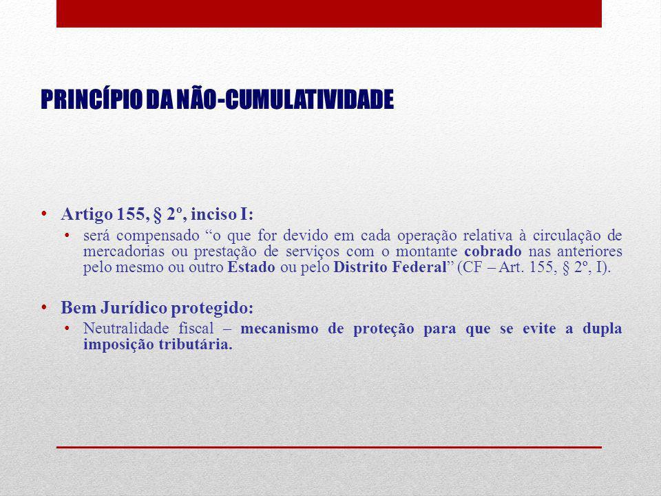 PRINCÍPIO DA NÃO-CUMULATIVIDADE Artigo 155, § 2º, inciso I: será compensado o que for devido em cada operação relativa à circulação de mercadorias ou