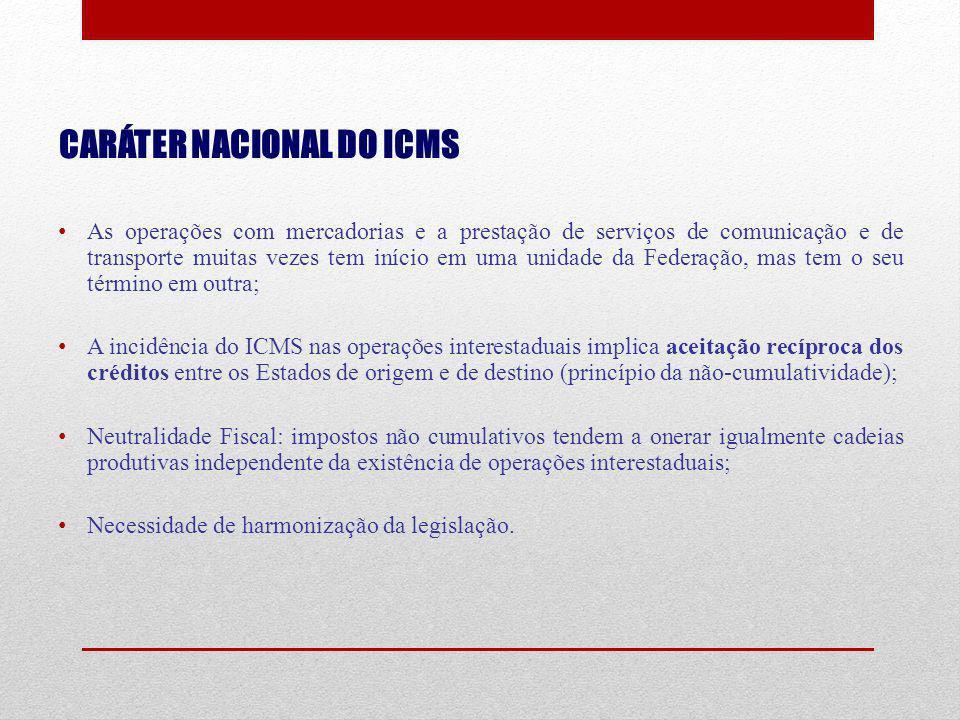 CARÁTER NACIONAL DO ICMS As operações com mercadorias e a prestação de serviços de comunicação e de transporte muitas vezes tem início em uma unidade