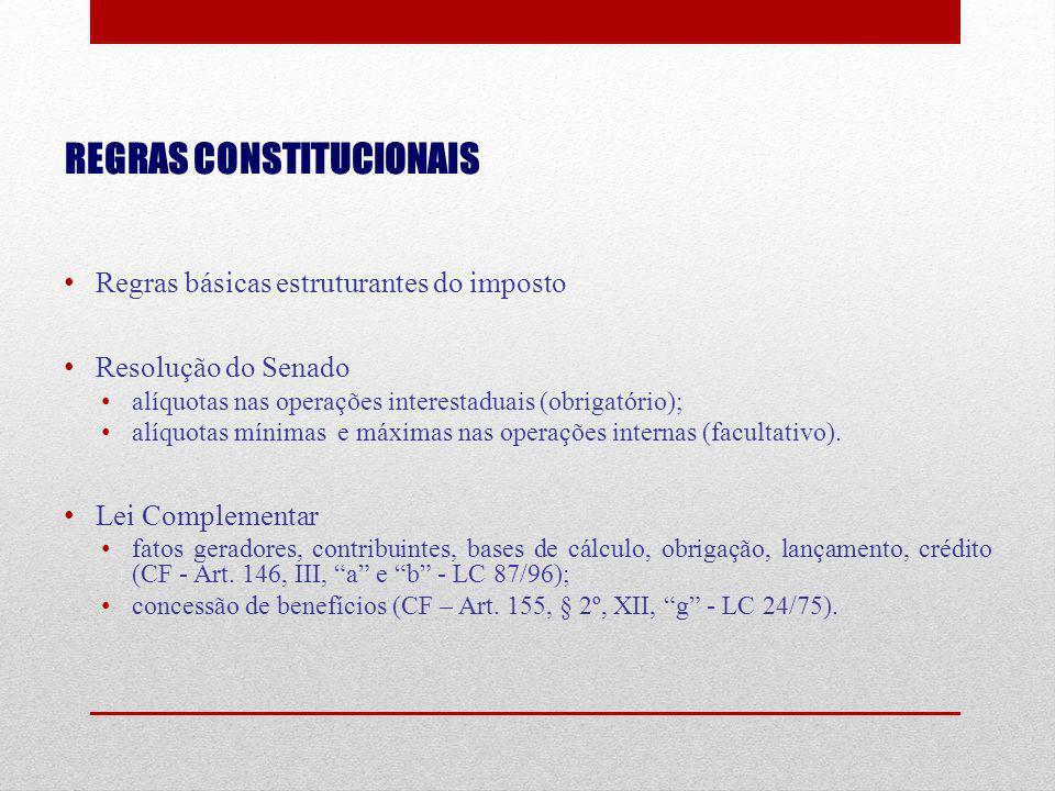 REGRAS CONSTITUCIONAIS Regras básicas estruturantes do imposto Resolução do Senado alíquotas nas operações interestaduais (obrigatório); alíquotas mín