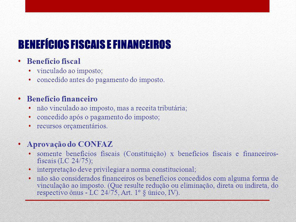 BENEFÍCIOS FISCAIS E FINANCEIROS Benefício fiscal vinculado ao imposto; concedido antes do pagamento do imposto. Benefício financeiro não vinculado ao