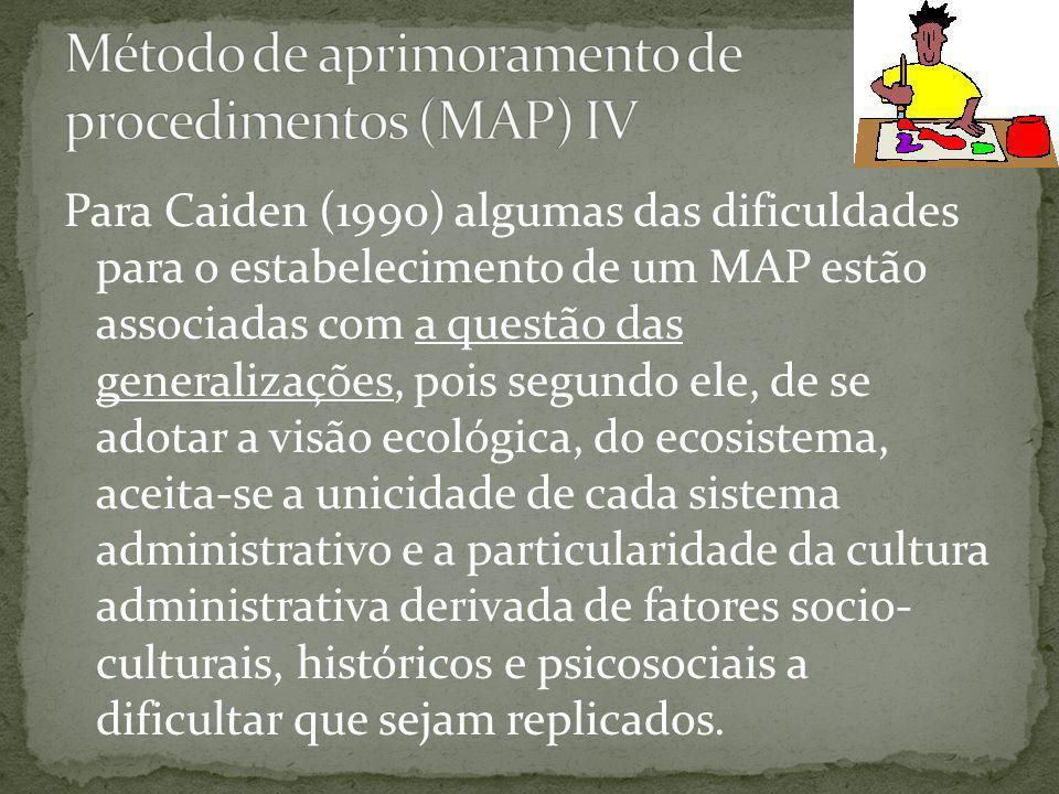 Para Caiden (1990) algumas das dificuldades para o estabelecimento de um MAP estão associadas com a questão das generalizações, pois segundo ele, de se adotar a visão ecológica, do ecosistema, aceita-se a unicidade de cada sistema administrativo e a particularidade da cultura administrativa derivada de fatores socio- culturais, históricos e psicosociais a dificultar que sejam replicados.