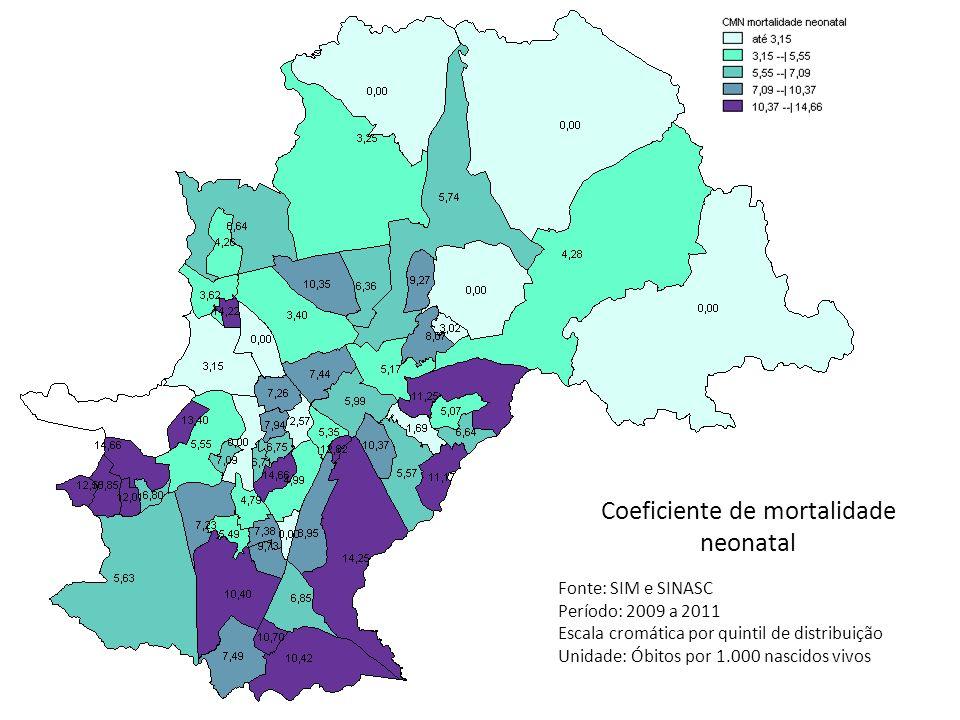 Coeficiente de mortalidade neonatal Fonte: SIM e SINASC Período: 2009 a 2011 Escala cromática por quintil de distribuição Unidade: Óbitos por 1.000 na