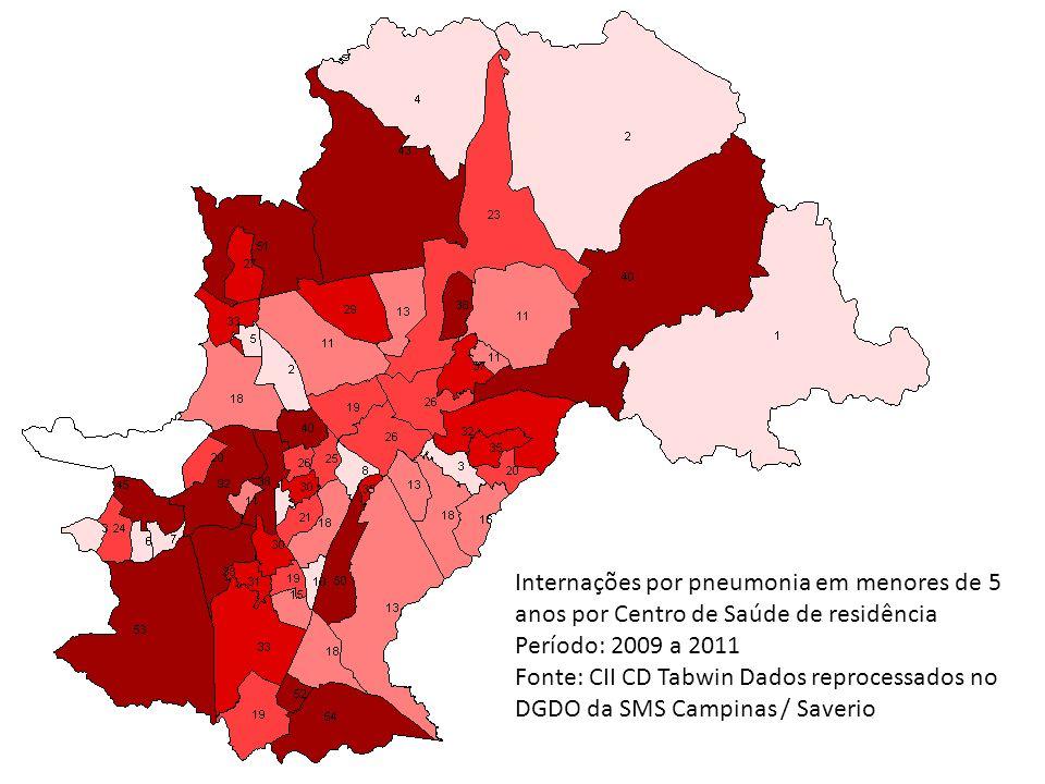 Internações por pneumonia em menores de 5 anos por Centro de Saúde de residência Período: 2009 a 2011 Fonte: CII CD Tabwin Dados reprocessados no DGDO