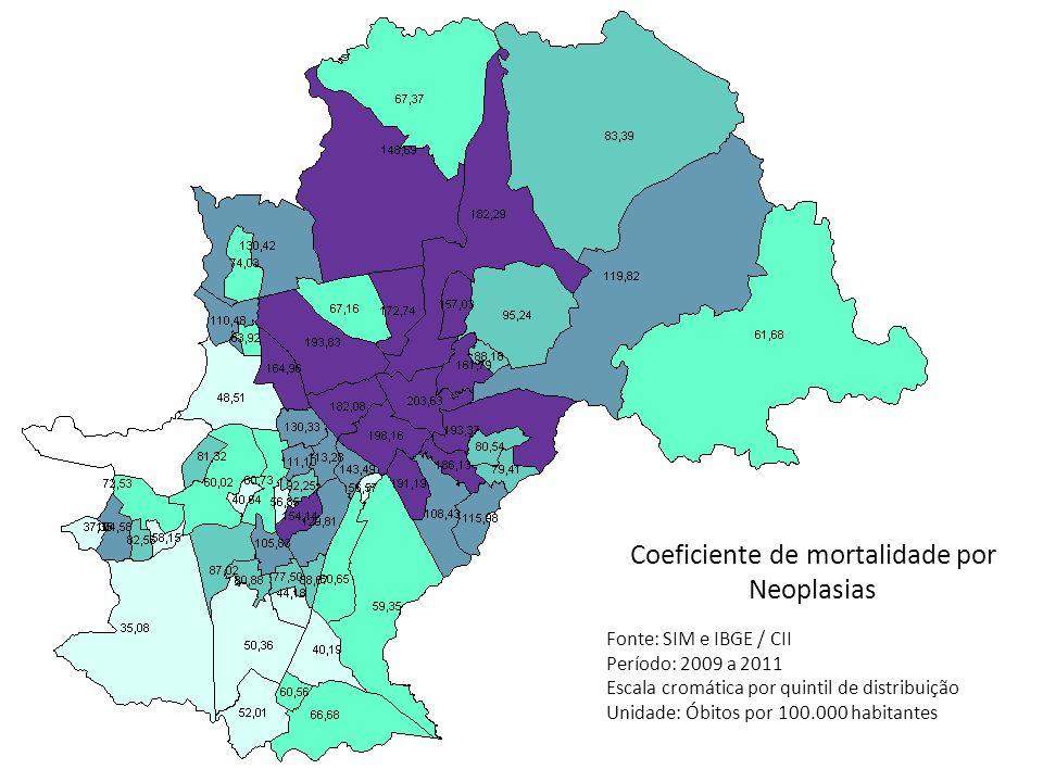 Coeficiente de mortalidade por Neoplasias Fonte: SIM e IBGE / CII Período: 2009 a 2011 Escala cromática por quintil de distribuição Unidade: Óbitos po