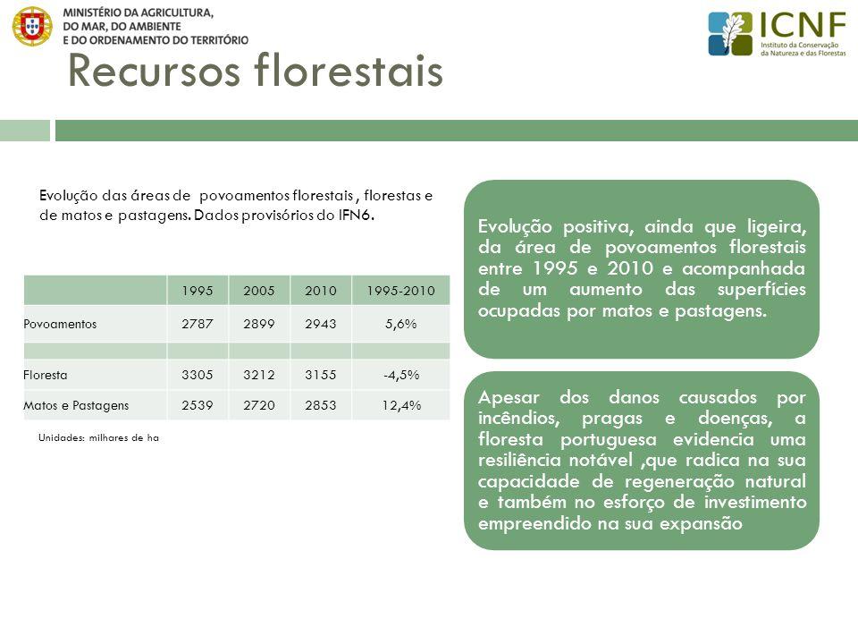 Recursos Florestais – evolução das áreas de povoamentos Evolução da área de povoamentos das principais espécies (Dados provisórios do IFN6) Espécies com variação positiva1995-2010 Eucaliptos16% Sobreiro6% Carvalhos14% Pinheiro-manso54% Entre 1995 e 2010 Aumento das áreas de povoamentos de: pinheiro-manso eucalipto carvalhos sobreiro Diminuição das áreas de povoamentos de: pinheiro-bravo azinheira Espécies com variação negativa1995-2010 Pinheiro-bravo-13% Azinheira-3%