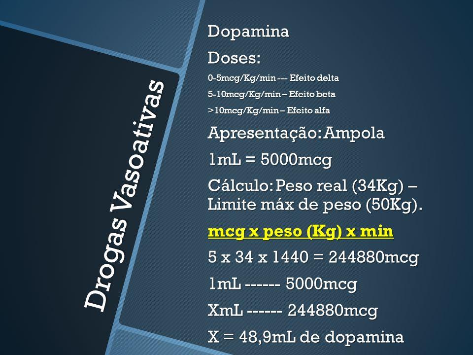 Drogas Vasoativas DopaminaDoses: 0-5mcg/Kg/min --- Efeito delta 5-10mcg/Kg/min – Efeito beta >10mcg/Kg/min – Efeito alfa Apresentação: Ampola 1mL = 5000mcg Cálculo: Peso real (34Kg) – Limite máx de peso (50Kg).