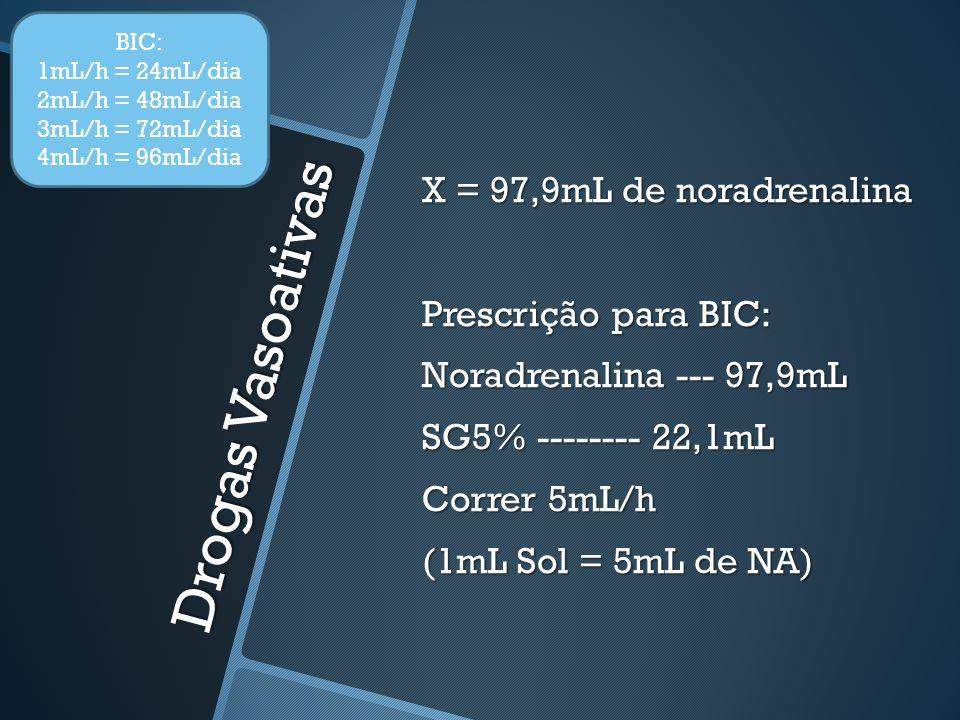 Drogas Vasoativas X = 97,9mL de noradrenalina Prescrição para BIC: Noradrenalina --- 97,9mL SG5% -------- 22,1mL Correr 5mL/h (1mL Sol = 5mL de NA) BIC: 1mL/h = 24mL/dia 2mL/h = 48mL/dia 3mL/h = 72mL/dia 4mL/h = 96mL/dia