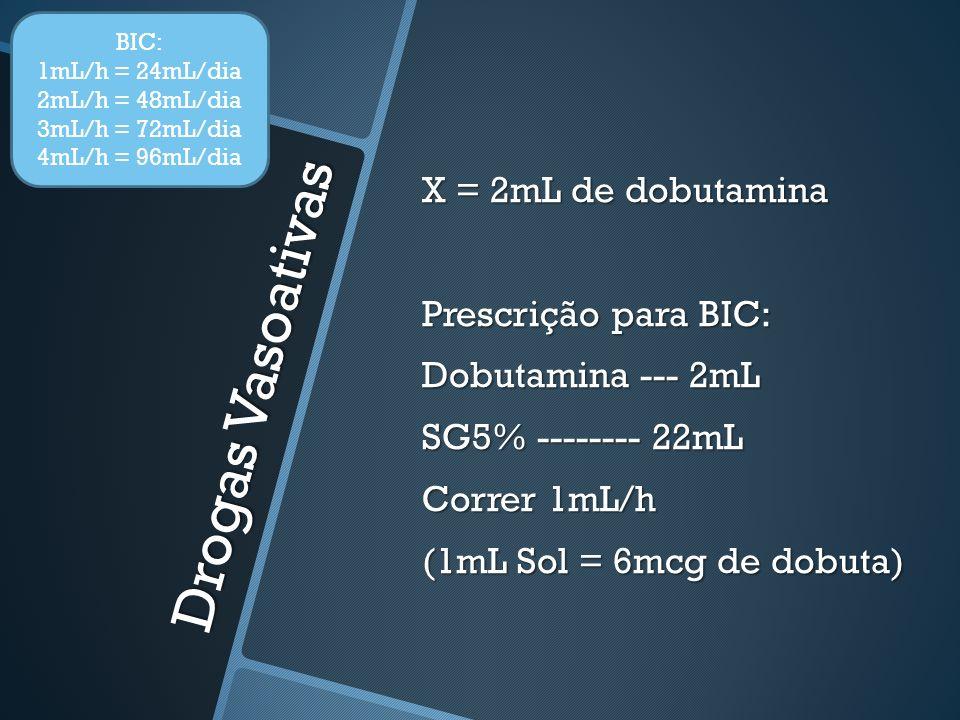 Drogas Vasoativas X = 2mL de dobutamina Prescrição para BIC: Dobutamina --- 2mL SG5% -------- 22mL Correr 1mL/h (1mL Sol = 6mcg de dobuta) BIC: 1mL/h