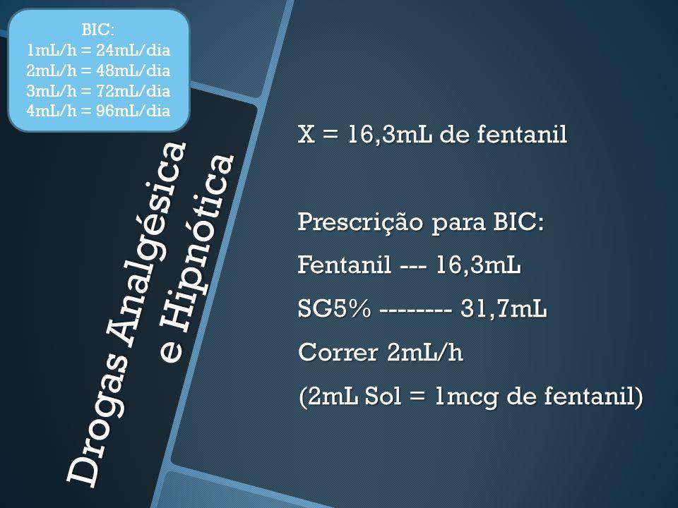 Drogas Analgésica e Hipnótica X = 16,3mL de fentanil Prescrição para BIC: Fentanil --- 16,3mL SG5% -------- 31,7mL Correr 2mL/h (2mL Sol = 1mcg de fentanil) BIC: 1mL/h = 24mL/dia 2mL/h = 48mL/dia 3mL/h = 72mL/dia 4mL/h = 96mL/dia