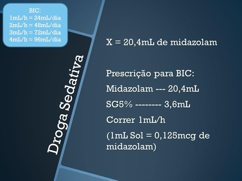 Droga Sedativa X = 20,4mL de midazolam Prescrição para BIC: Midazolam --- 20,4mL SG5% -------- 3,6mL Correr 1mL/h (1mL Sol = 0,125mcg de midazolam) BI