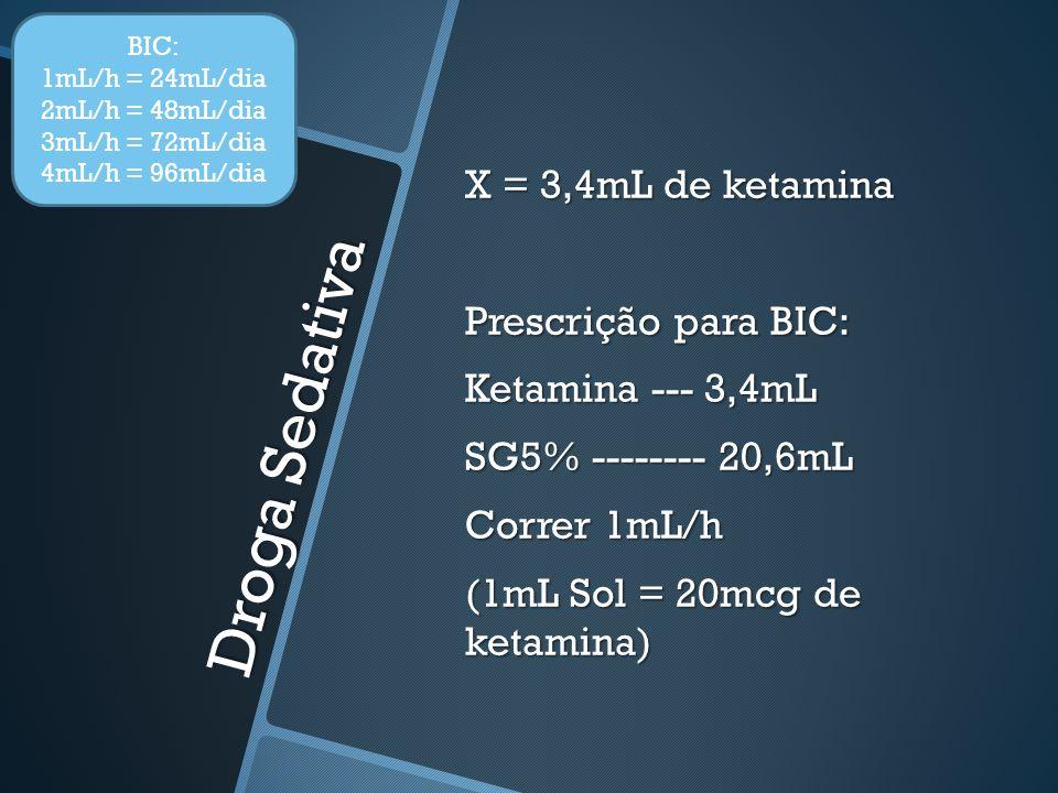 Droga Sedativa X = 3,4mL de ketamina Prescrição para BIC: Ketamina --- 3,4mL SG5% -------- 20,6mL Correr 1mL/h (1mL Sol = 20mcg de ketamina) BIC: 1mL/h = 24mL/dia 2mL/h = 48mL/dia 3mL/h = 72mL/dia 4mL/h = 96mL/dia
