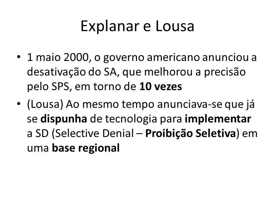 Explanar e Lousa 1 maio 2000, o governo americano anunciou a desativação do SA, que melhorou a precisão pelo SPS, em torno de 10 vezes (Lousa) Ao mesmo tempo anunciava-se que já se dispunha de tecnologia para implementar a SD (Selective Denial – Proibição Seletiva) em uma base regional