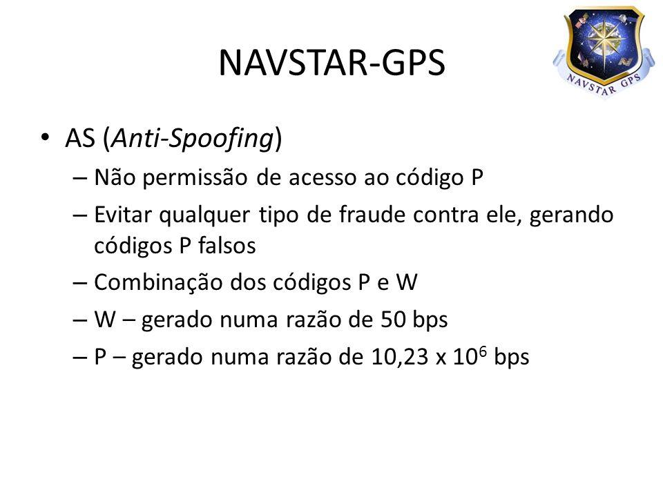 AS (Anti-Spoofing) – Não permissão de acesso ao código P – Evitar qualquer tipo de fraude contra ele, gerando códigos P falsos – Combinação dos códigos P e W – W – gerado numa razão de 50 bps – P – gerado numa razão de 10,23 x 10 6 bps NAVSTAR-GPS