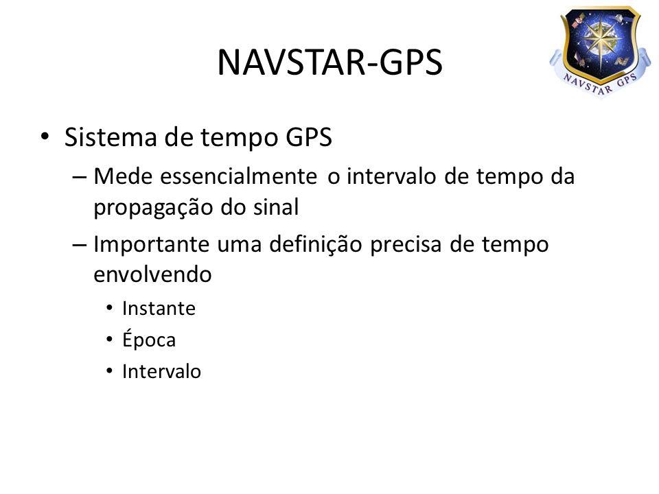 – Mede essencialmente o intervalo de tempo da propagação do sinal – Importante uma definição precisa de tempo envolvendo Instante Época Intervalo NAVSTAR-GPS