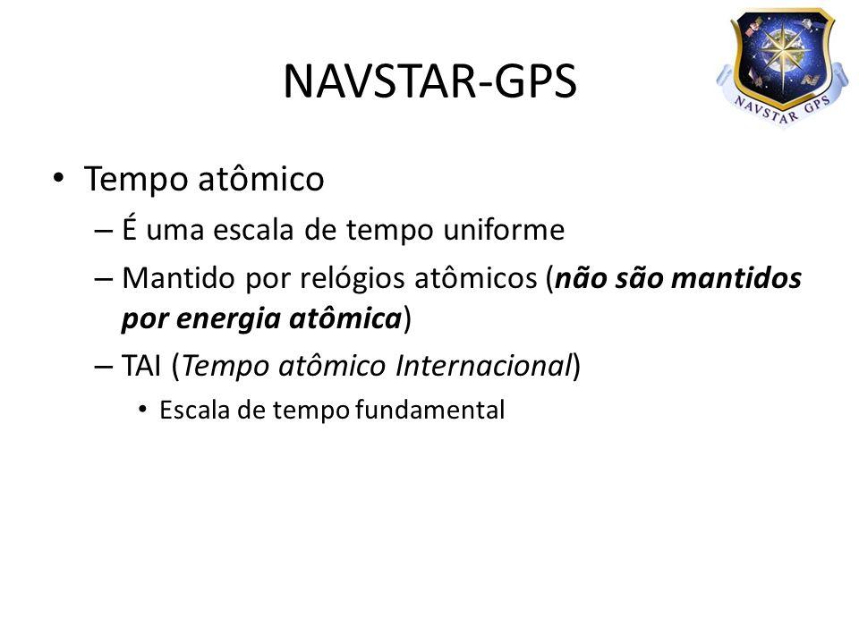 Tempo atômico – É uma escala de tempo uniforme – Mantido por relógios atômicos (não são mantidos por energia atômica) – TAI (Tempo atômico Internacional) Escala de tempo fundamental NAVSTAR-GPS