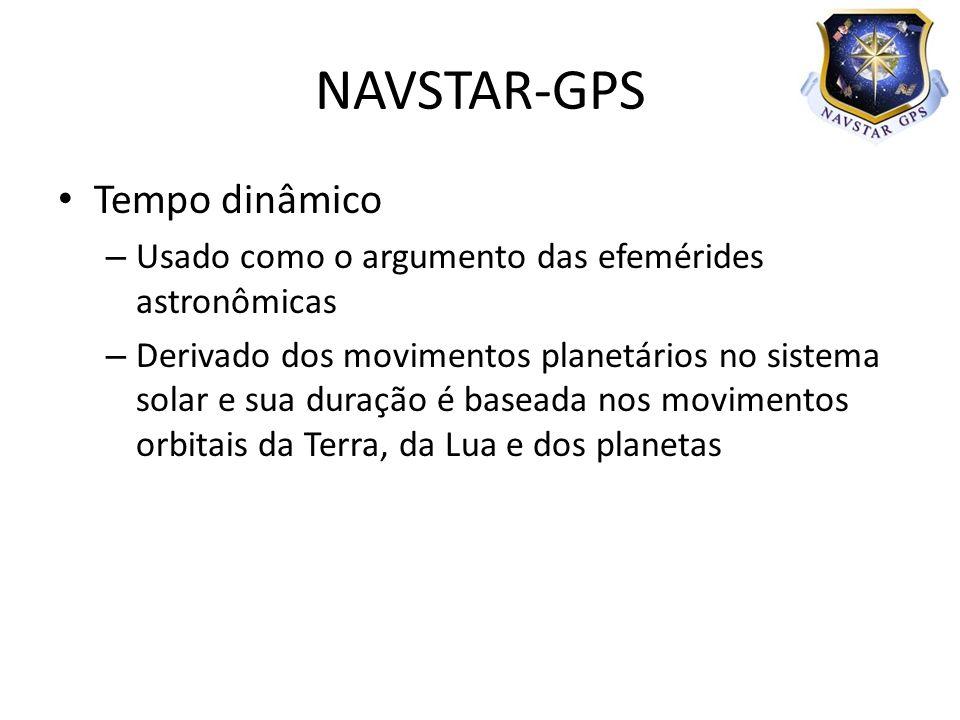 Tempo dinâmico – Usado como o argumento das efemérides astronômicas – Derivado dos movimentos planetários no sistema solar e sua duração é baseada nos movimentos orbitais da Terra, da Lua e dos planetas NAVSTAR-GPS