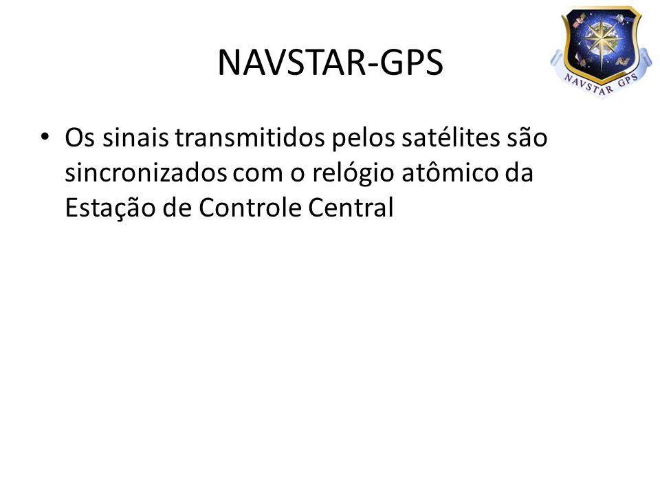 Os sinais transmitidos pelos satélites são sincronizados com o relógio atômico da Estação de Controle Central NAVSTAR-GPS