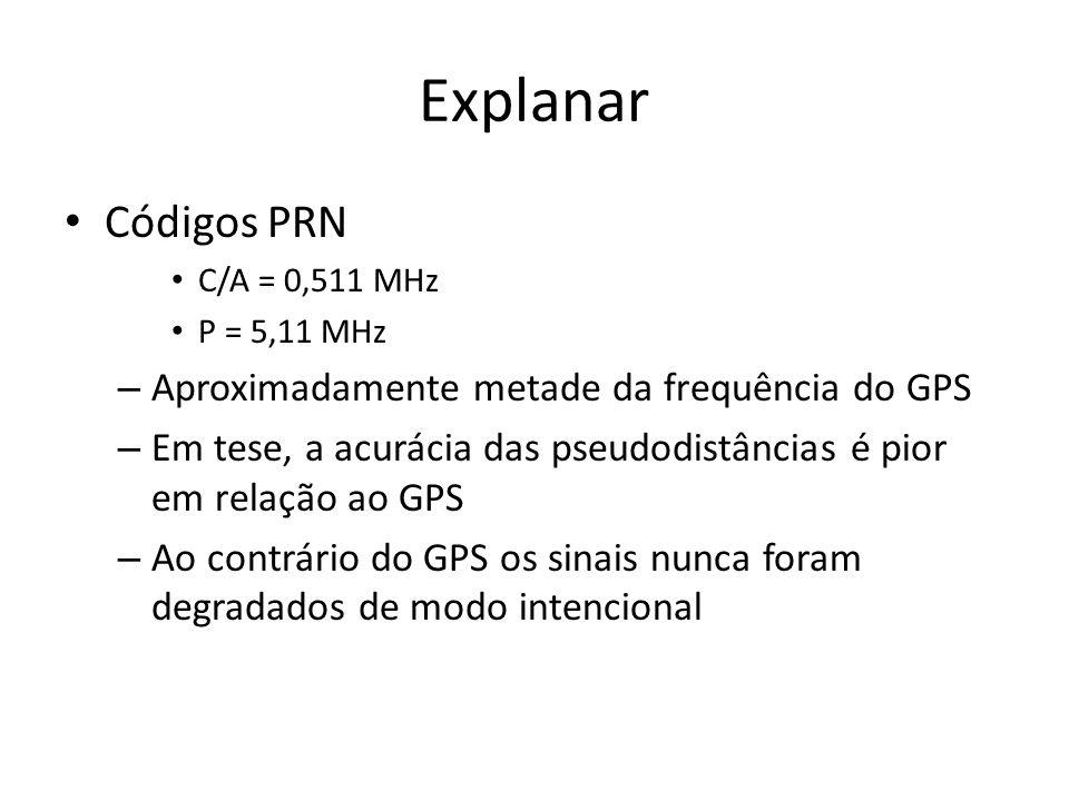 Explanar Códigos PRN C/A = 0,511 MHz P = 5,11 MHz – Aproximadamente metade da frequência do GPS – Em tese, a acurácia das pseudodistâncias é pior em relação ao GPS – Ao contrário do GPS os sinais nunca foram degradados de modo intencional