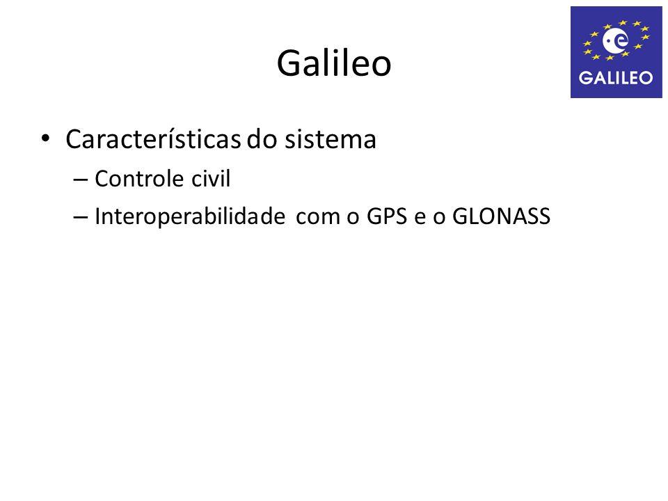 Características do sistema – Controle civil – Interoperabilidade com o GPS e o GLONASS