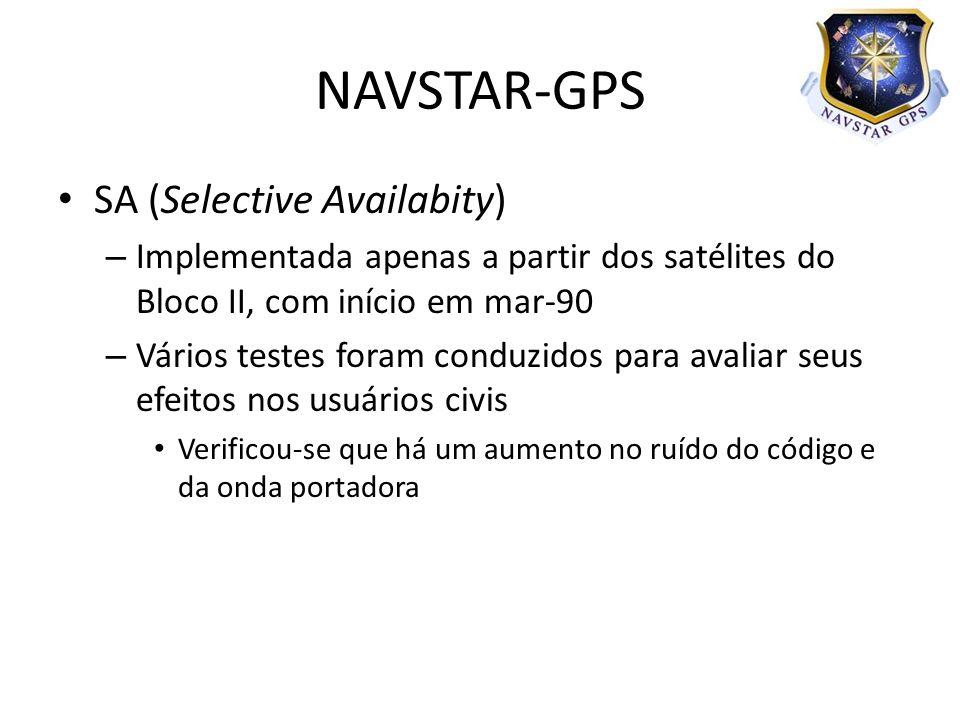 SA (Selective Availabity) – Implementada apenas a partir dos satélites do Bloco II, com início em mar-90 – Vários testes foram conduzidos para avaliar seus efeitos nos usuários civis Verificou-se que há um aumento no ruído do código e da onda portadora NAVSTAR-GPS