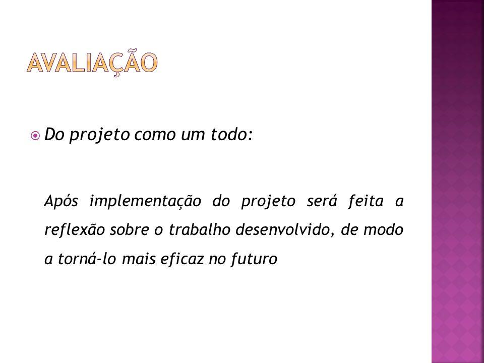 Do projeto como um todo: Após implementação do projeto será feita a reflexão sobre o trabalho desenvolvido, de modo a torná-lo mais eficaz no futuro