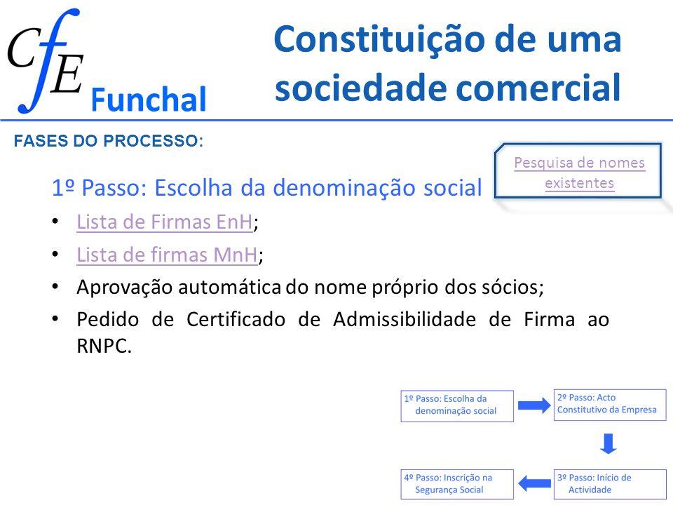 Constituição de uma sociedade comercial 1º Passo: Escolha da denominação social Lista de Firmas EnH; Lista de Firmas EnH Lista de firmas MnH; Lista de