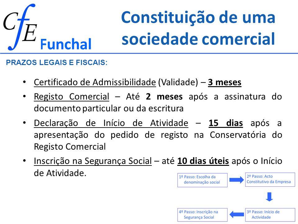Constituição de uma sociedade comercial Certificado de Admissibilidade (Validade) – 3 meses Registo Comercial – Até 2 meses após a assinatura do docum