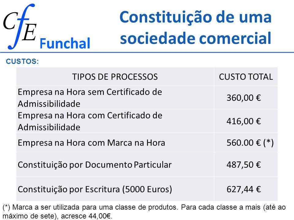 Constituição de uma sociedade comercial Funchal CUSTOS: TIPOS DE PROCESSOSCUSTO TOTAL Empresa na Hora sem Certificado de Admissibilidade 360,00 Empres